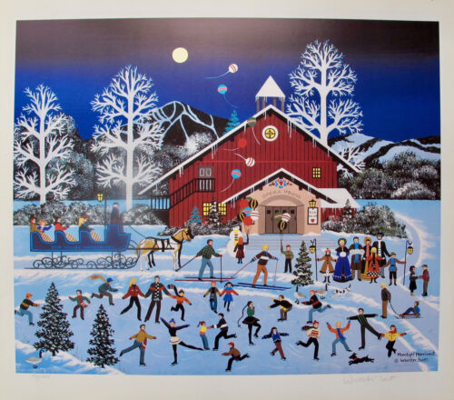 Jane Wooster Scott MOONLIGHT MERRIMENT Hand Signed Limited Edition Lithograph