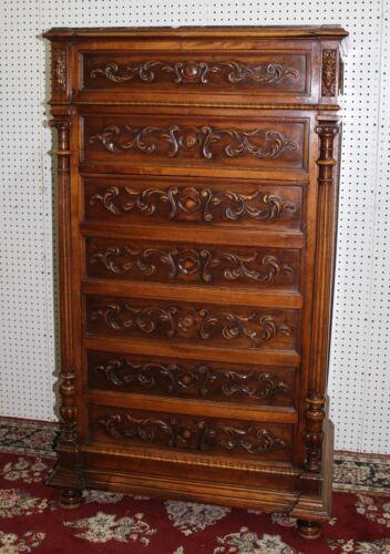 Antique Country French Walnut Marble Top 5' Tall Chest Cabinet Louis XVI C1880