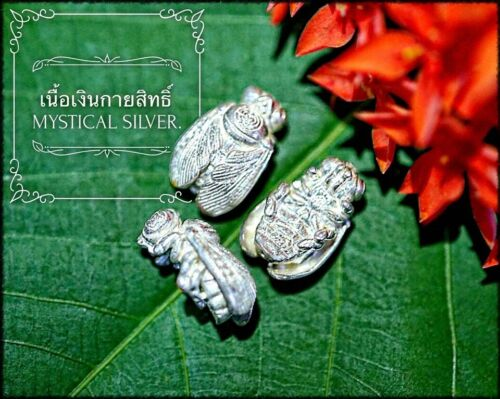 Mystical Silver Emperor Golden Bee Phra Arjarn O Thai Amulet Protect Luck Wealth