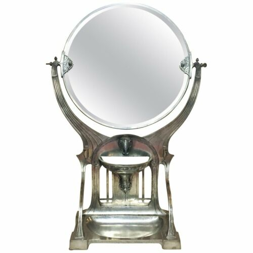 German Jugenstil Grand SilveredTable Vanity Mirror, Ca. 1900