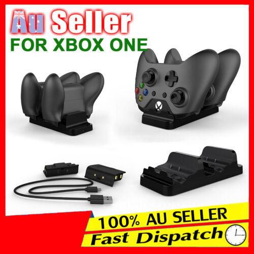 2 USB Rechargeable Microsoft Battery for + XBOX ONE Dual Controller Dock Charger