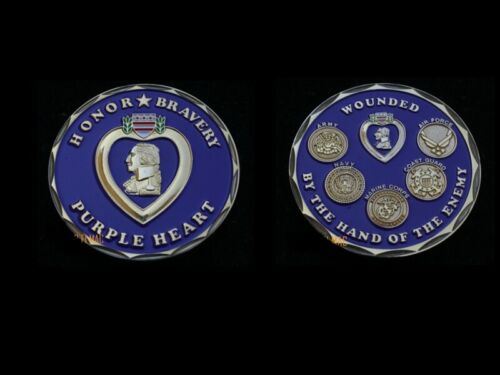 PURPLE HEART HONOR BRAVERY COIN US ARMY MARINES NAVY AIR FORCE USCGOther Militaria (Date Unknown) - 66534