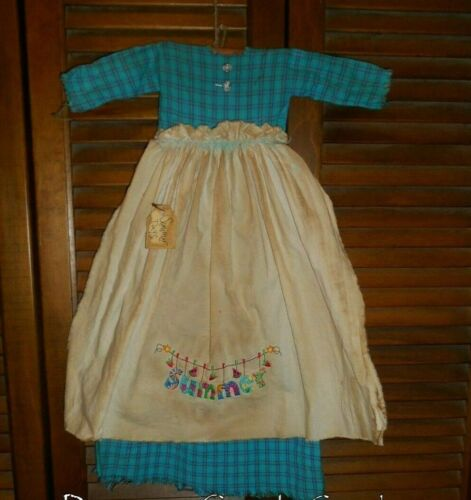 Primitive Wall Decor Dress TEAL PLAID W/ APRON, SUMMER,Watermelon,Country,Grungy