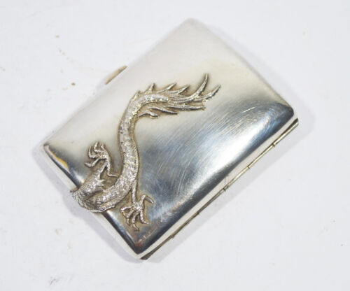 ANTIQUE CHINESE EXPORT SILVER CIGARETTE CASE BOX SIGN KL 96 GR