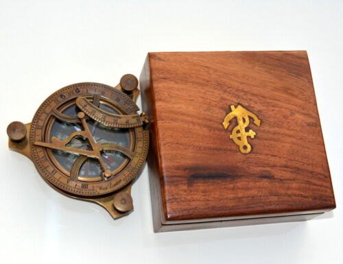 """Brass vintage compass antique maritime 4"""" sundial compass with wooden box gift"""