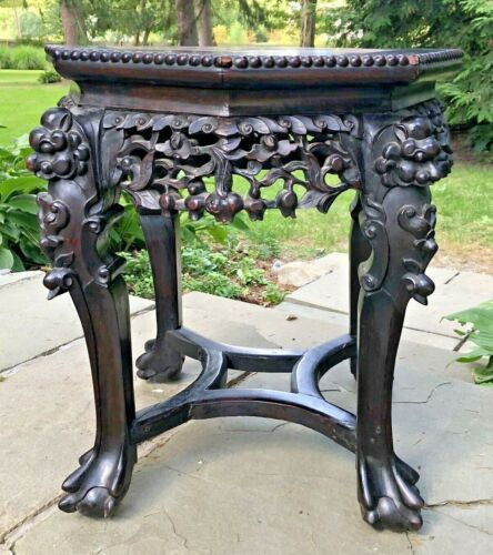 """Antique~CARVED 19""""h x18""""Dia WOOD&MARBLE CHINESE FOOLION DOG LEGS STAND~Exc."""