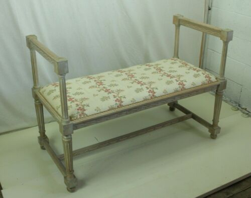Pickled White 19th Century French Oak Window/Hallway Bench