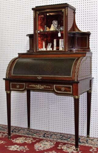 Antique French Napoleon III Bureau Ladies Rolltop Desk  Display Top Circa 1860