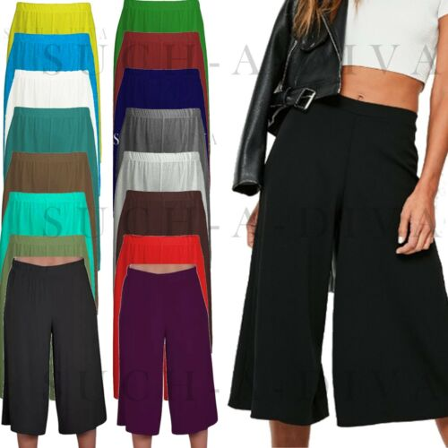 Ladies Womens Elasticated Stretch Wide Leg Culottes 3/4th Length Plus Size 8-26