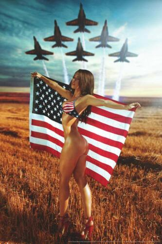 ALL AMERICAN GIRL - SEXY PINUP POSTER 24x36 - HOT MODEL FLAG 54097
