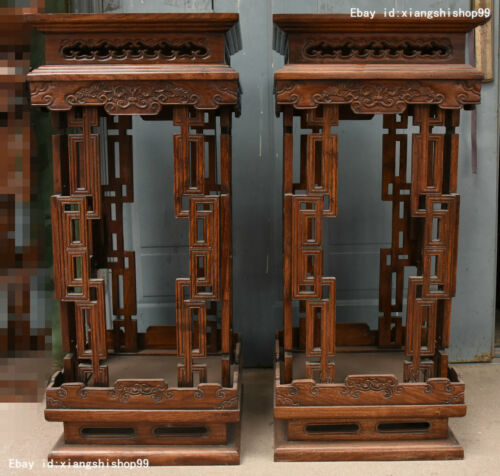 36 Collect Chinese HuangHuaLi Wood handcrafted Flower Vase stand Base shelf Pair