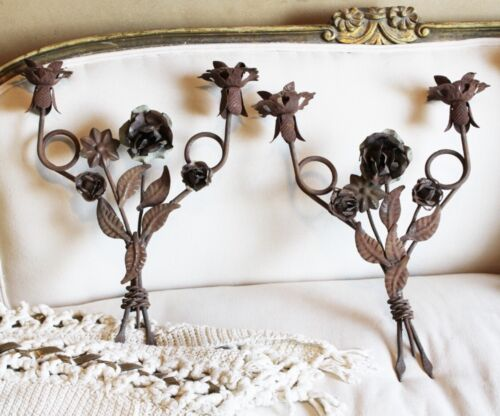 Pair Antique Wrought Iron Two Arm French Tole Wall Sconces Vintage