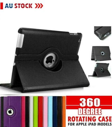 Apple 360* Leather Case Cover iPad Mini 2 3 4 5 8th 7th 6th Gen Air 1 2 12.9 11