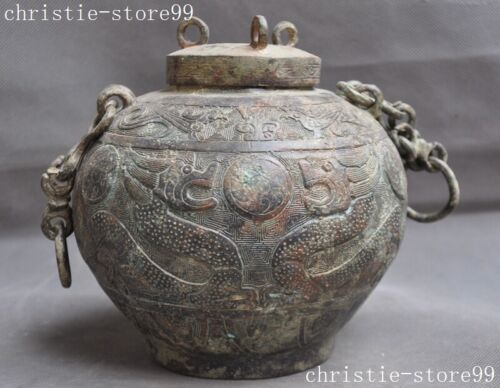 Ancient old Dynasty Bronze Ware Dragon Beast totem Portable Bottle Pot Jar Crock