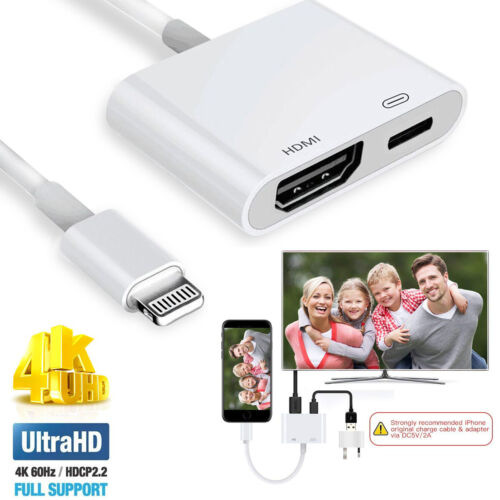 For Apple iPhone Connect to HDMI TV AV Adapter for iPad Mini 5 Air 3 to Apple TV