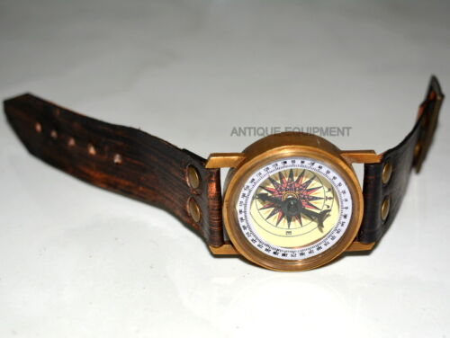 Vintage brass compass steampunk wrist compass and sundial leather strap gift