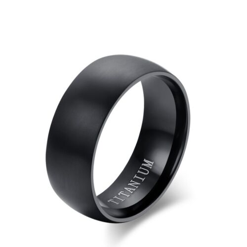 Mens Fashion 8mm Black Curved Dull Polished Surface Titanium Steel Ring TR001