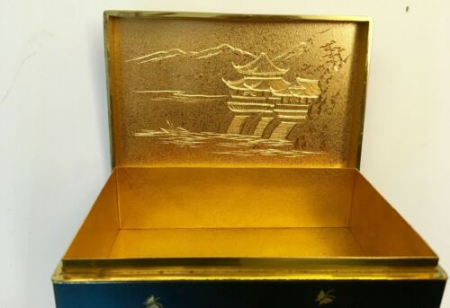 Vintage Japanese Table Cigarette Box Silver Gold Inlay Etched Gold Interior