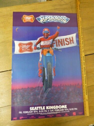"""ORIGINAL Vintage 1985  """"Supercross Seattle Kingdome"""" Poster by McIntire"""