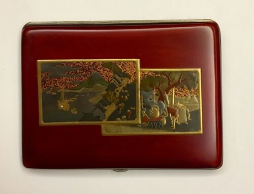 Vintage Japanese Cigarette Case in Lacquer on Brass w/ Silvered Interior