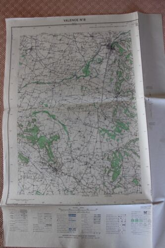 Map France 1/20000 Valencia No. 8. Institute Geographical National. 1952