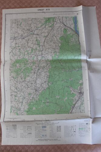 Map France 1/20000 Crest No. 5. Institute Geographical National. 1952
