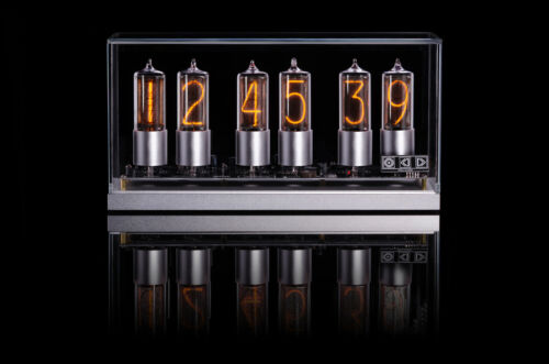 ZIN18 New Nixie Tube Clock Silver Aluminium Base Glass Cover WIFI Android/Iphone <br/> RGB SIX Nixie Tubes WIFI setup 15 Years warranty IN-18