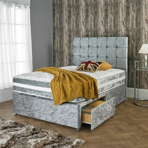NEW CRUSHED VELVET DIVAN BED WITH MATCHING MATTRESS AND FREE 20