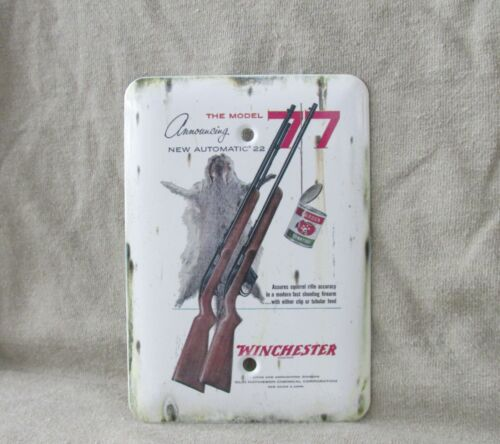 Winchester Model 77 - Metal Electrical Wall Plate Cover -New- Old Tin Sign Look