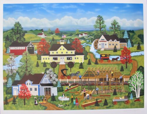 Jane Wooster Scott GOOD NEIGHBORS Hand Signed Limited Edition Serigraph Art