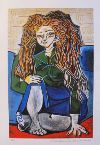 Pablo Picasso WOMAN SITTING CROSS LEGGED Estate Signed & Numbered Small Giclee