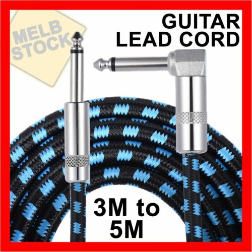 3M & 5M Guitar Lead 1 Right Angle Jack Noiseless Braided Tweed Instrument Cable