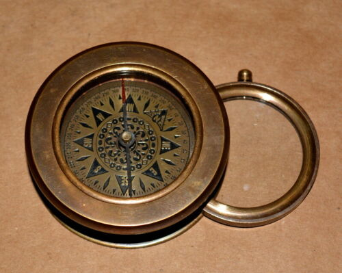 """Vintage Nautical Brass compass 2.75"""" & folding magnifying glass map reader gift"""