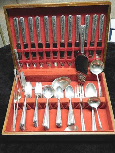 Rambler Rose by Towle Sterling Silver Flatware set service for 12 total 86 pcs