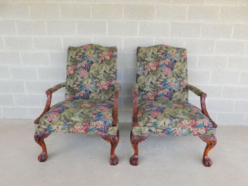Sam Moore Chippendale Style Paw Foot Accent Chairs - a Pair