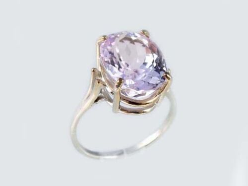 White Gold Ring 10ct Pink Kunzite Afghani 19thC Antique Ancient Good Luck 14kt