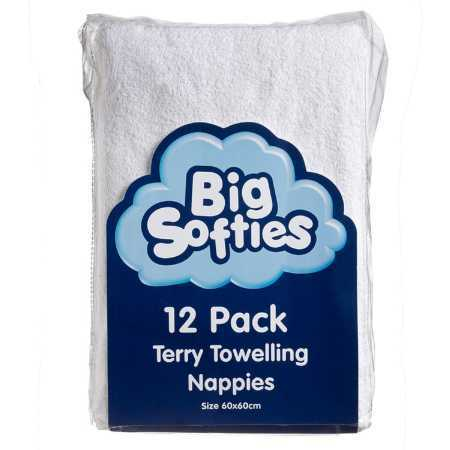 Big Softies Terry Towelling Nappies 12 Pack - White