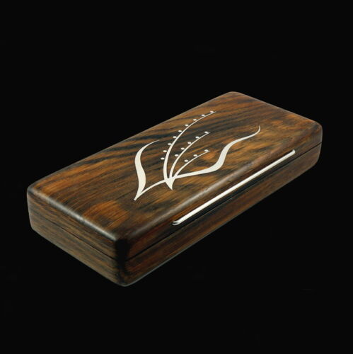 Bog Oak Box with Inlaid Sterling Silver 'Floral Motif'- Denmark - 1960s