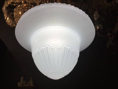 ART DECO ORIGINAL LIGHT PENDANT GLASS LARGE VICTORIAN MILK VERY UNUSUAL ORIGINAL