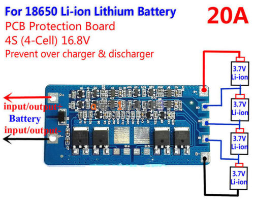 4s Li-ion Lithium 18650 Battery Bms Protection Pcb Board 14.8v 16.8v 20a Cell
