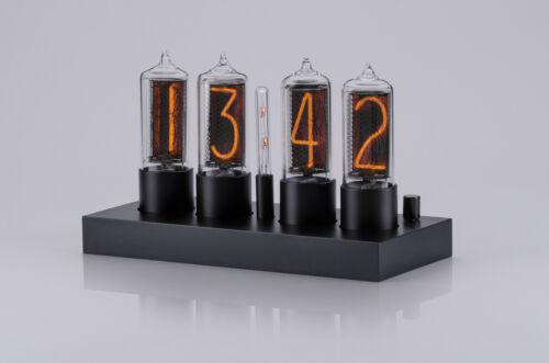 ZIN18 IN18 New Nixie Tube Clock Classic Black Aluminium Case WIFI Android/Iphone <br/> 4 Nixie Tubes 15 Years warranty Bigger than IN-18 Gift