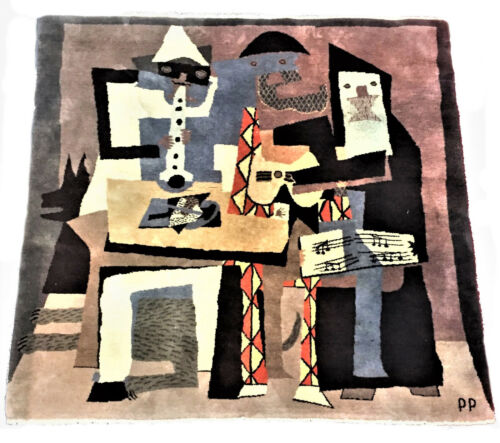 After Pablo Picasso, Three Musicians (1921), Mid-Century Modern Wool Rug, Ca. 19