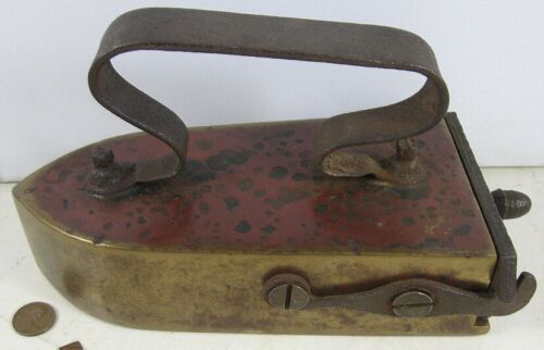 Antique Early Heavy Brass Iron Slug Iron With Swing Gate Early 1800's