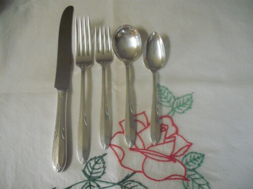 5 Piece National Sterling Silver Flatware Place Setting, 1936 Overture