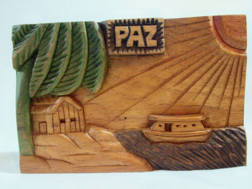 PAZ Hand Carved Painted Wood Wall Plaque Peace Boat Palm Tree House Signed Xmas