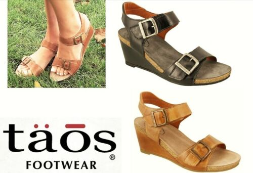 Taos Footwear comfort adjustable leather wedge sandals - Taos Shoes Buckle Up