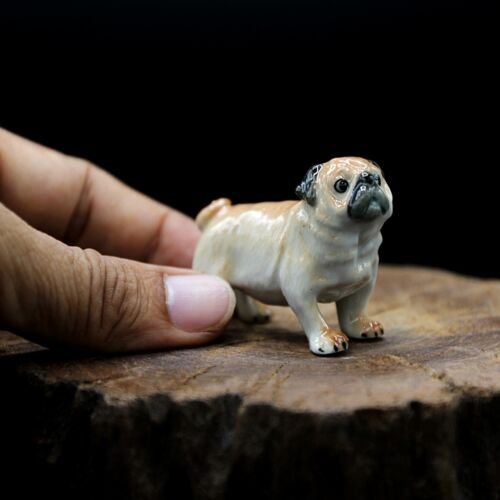 New Pug Dog Ceramic Figurine Handmade Collectibles Charm Decor Cute Gift Doll