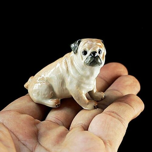 New Pug Dog Sit Ceramic Figurine Handmade Collectibles Miniature Dollhouse Charm