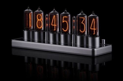 ZIN18 IN18 Nixie Tube Clock Silver Classic Aluminium Case WIFI Android/Iphone  <br/> SIX Nixie Tubes 15 Years warranty Bigger than IN-18