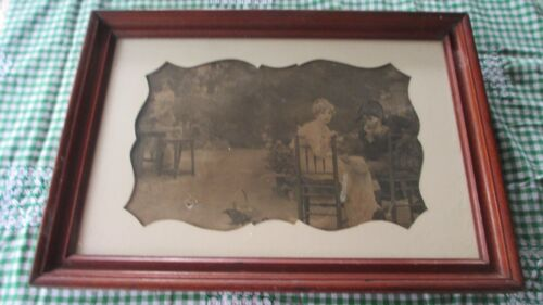 Vintage very old English Oak picture frame with glass & old picture